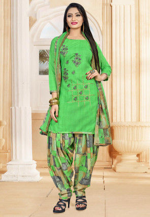 Embroidered Cotton Punjabi Suit in Green