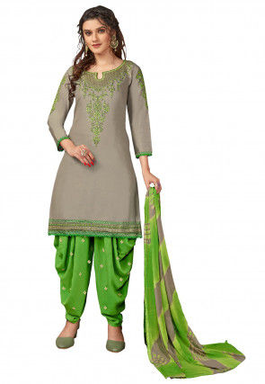 Embroidered Cotton Punjabi Suit in Grey