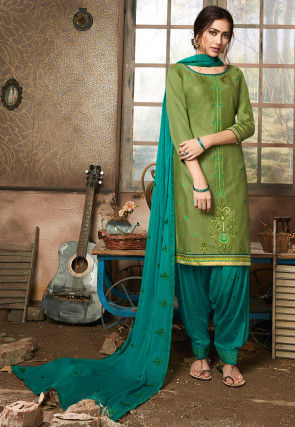Embroidered Cotton Punjabi Suit in Light Olive Green