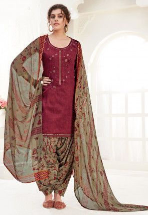 Embroidered Cotton Punjabi Suit in Maroon