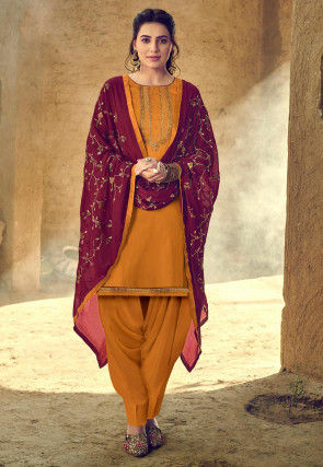 Embroidered Cotton Punjabi Suit in Mustard