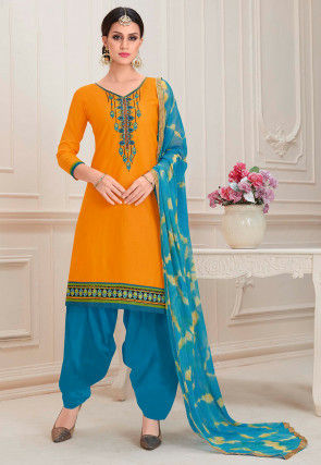 Embroidered Cotton Punjabi Suit in Mustard