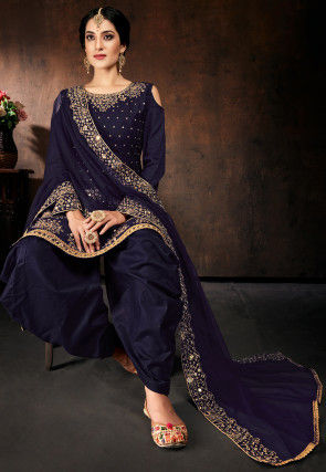 Embroidered Cotton Punjabi Suit in Navy Blue