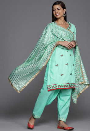 Embroidered Cotton Punjabi Suit in Pastel Green