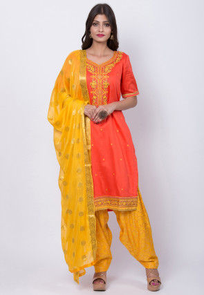Embroidered Cotton Punjabi Suit in Peach