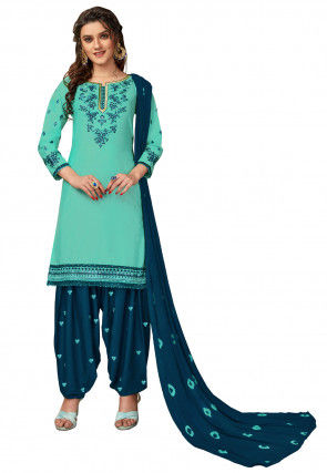 Embroidered Cotton Punjabi Suit in Sea Green
