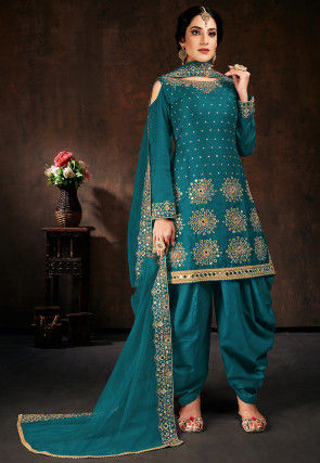 Embroidered Cotton Punjabi Suit in Teal Blue