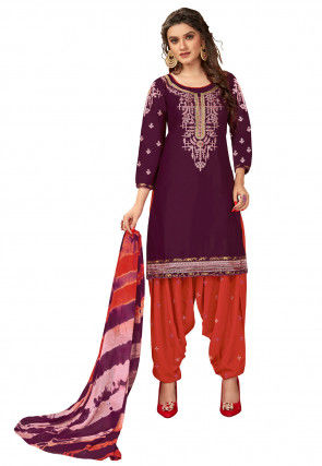Embroidered Cotton Punjabi Suit in Wine