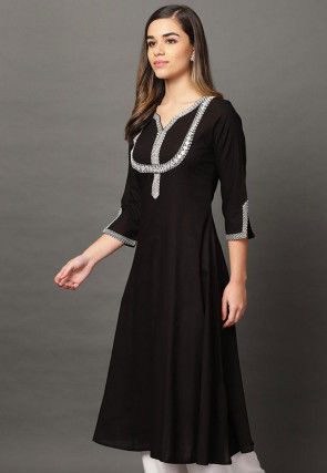 Embroidered Cotton Rayon A Line Kurta in Black