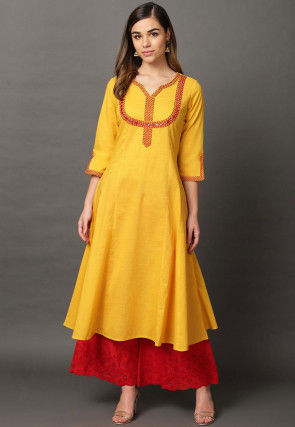 Embroidered Cotton Rayon A Line Kurta in Mustard