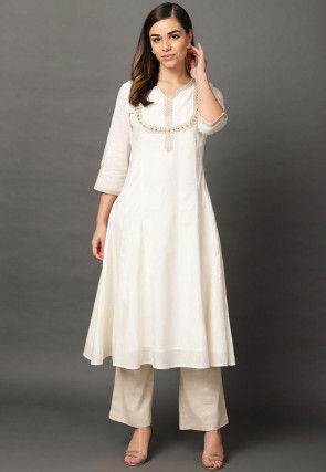 Embroidered Cotton Rayon A Line Kurta in Off White