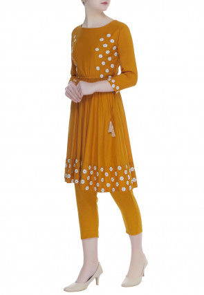 Embroidered Cotton Rayon A Line Kurta Set in Mustard