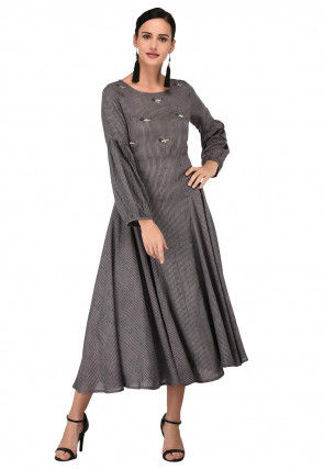 Embroidered Cotton Rayon Flared Dress in Grey