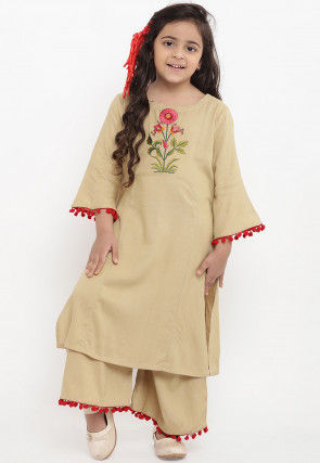 Embroidered Cotton Rayon Kurta Set in Beige