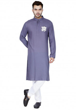 Embroidered Cotton Rayon Kurta Set in Dusty Purple