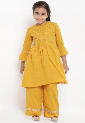 Embroidered Cotton Rayon Kurta Set in Mustard