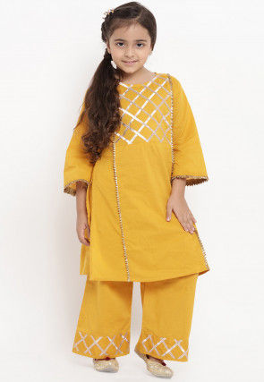 Embroidered Cotton Rayon Kurta Set in Mustred