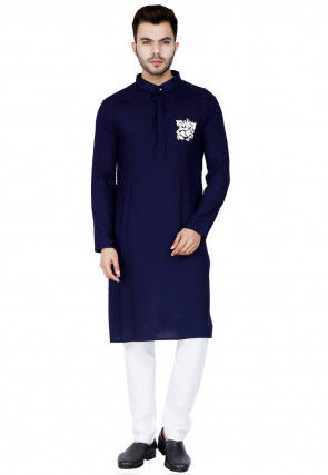 Embroidered Cotton Rayon Kurta Set in Navy Blue