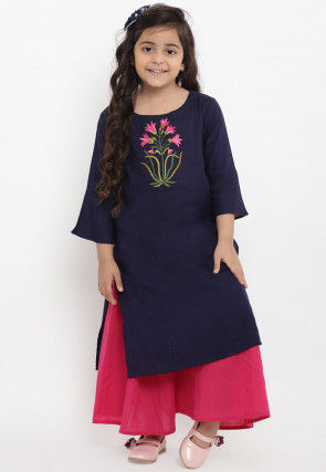 Embroidered Cotton Rayon Kurta Set in Navy Blue