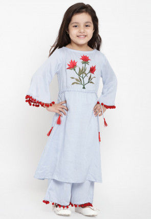 Embroidered Cotton Rayon Kurta Set in Sky Blue