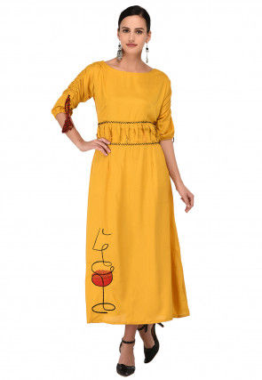 Embroidered Cotton Rayon Midi Dress in Mustard