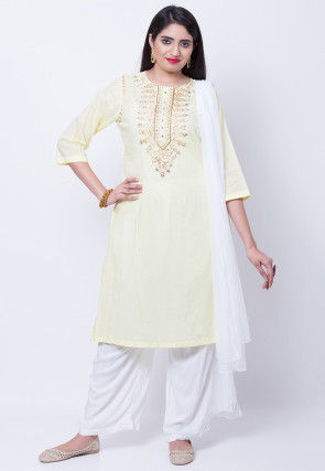 Embroidered Cotton Rayon Pakistani Suit in Light Yellow