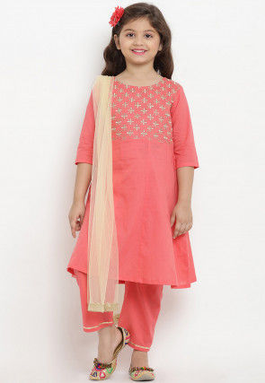 Embroidered Cotton Rayon Pakistani Suit in Peach