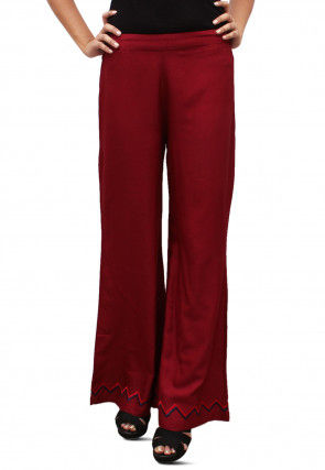 Embroidered Cotton Rayon Palazzo in Maroon