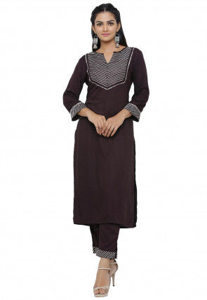 Embroidered Cotton Rayon Straight Kurta in Black