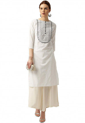 Embroidered Cotton Rayon Top N Bottom in Off White