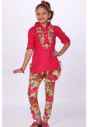 Embroidered Cotton Salwar Set in Red
