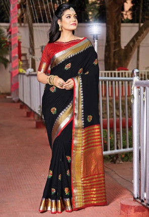 Embroidered Cotton Saree in Black