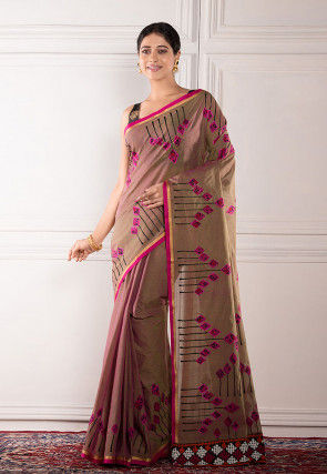 Embroidered Cotton Saree in Brown
