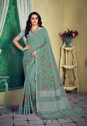Embroidered Cotton Saree in Dusty Green