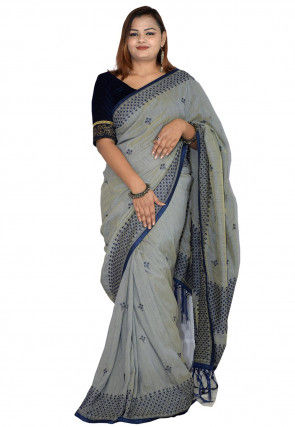 Embroidered Cotton Saree in Grey
