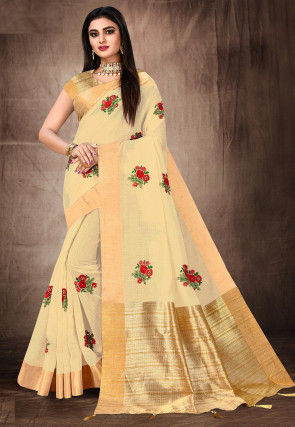 Embroidered Cotton Saree in Light Beige
