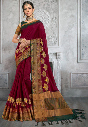 Embroidered Cotton Saree in Maroon