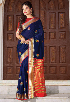 Embroidered Cotton Saree in Navy Blue