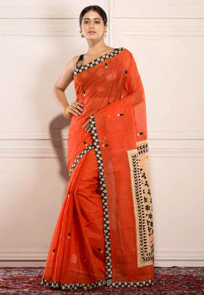 Embroidered Cotton Saree in Orange