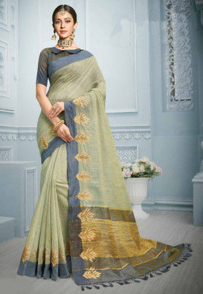 Embroidered Cotton Saree in Pastel Green