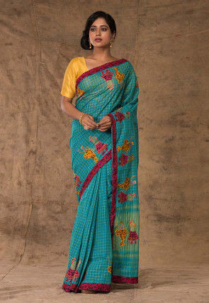 Embroidered Cotton Saree in Teal Blue
