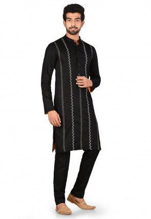 Embroidered Cotton Satin Kurta Set in Black
