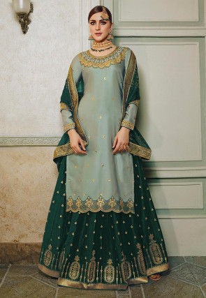Embroidered Cotton Satin Lehenga in Dusty Green