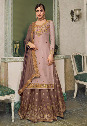 Embroidered Cotton Satin Lehenga in Dusty Pink
