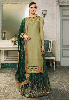 Embroidered Cotton Satin Lehenga in Olive Green