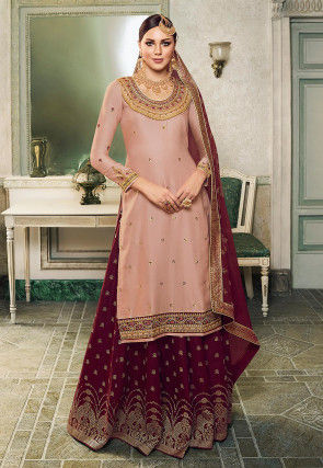 Embroidered Cotton Satin Lehenga in Peach