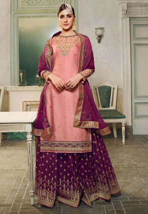 Embroidered Cotton Satin Lehenga in Pink