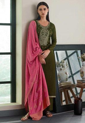 Embroidered Cotton Satin Pakistani Suit in Dark Olive Green