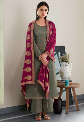 Embroidered Cotton Satin Pakistani Suit in Grey