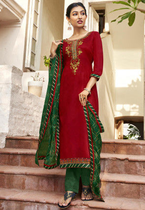 Embroidered Cotton Satin Pakistani Suit in Red